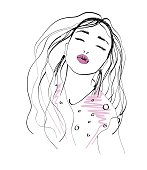 Beautiful girl face with long hair. Fashion sketch hand drawn. Vector illustration.