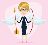 Beautiful girl in a cupid suit with wings, bow and