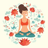 Beautiful girl in the lotus position on the circle background