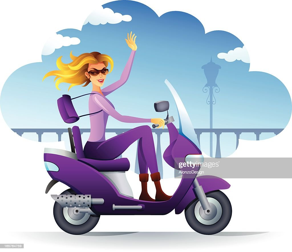 Beautiful girl riding a scooter : stock illustration