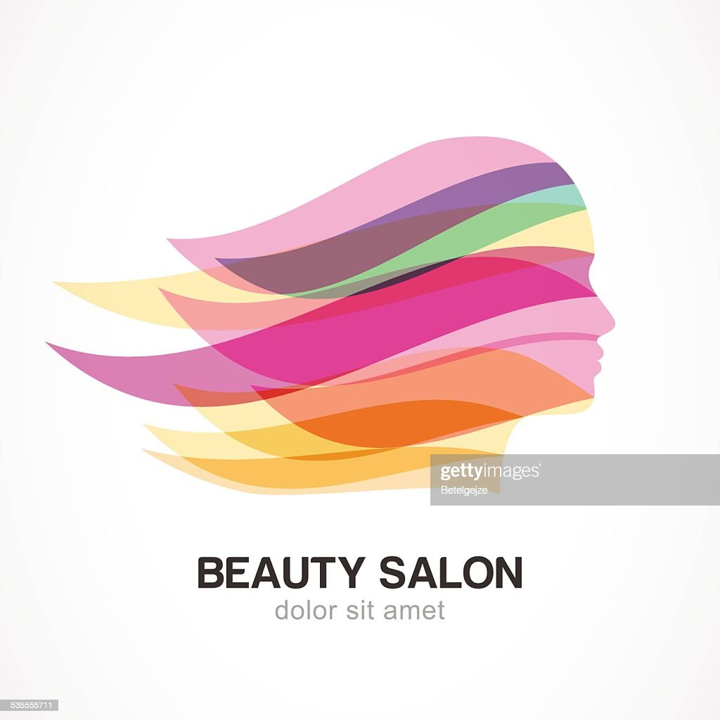 Beautiful girl silhouette with streaming hair. Vector logo design template.