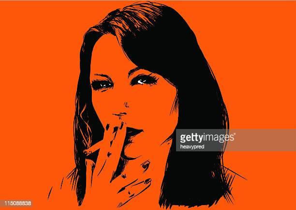beautiful girl smoking cigarette - flirting stock illustrations, clip art, cartoons, & icons