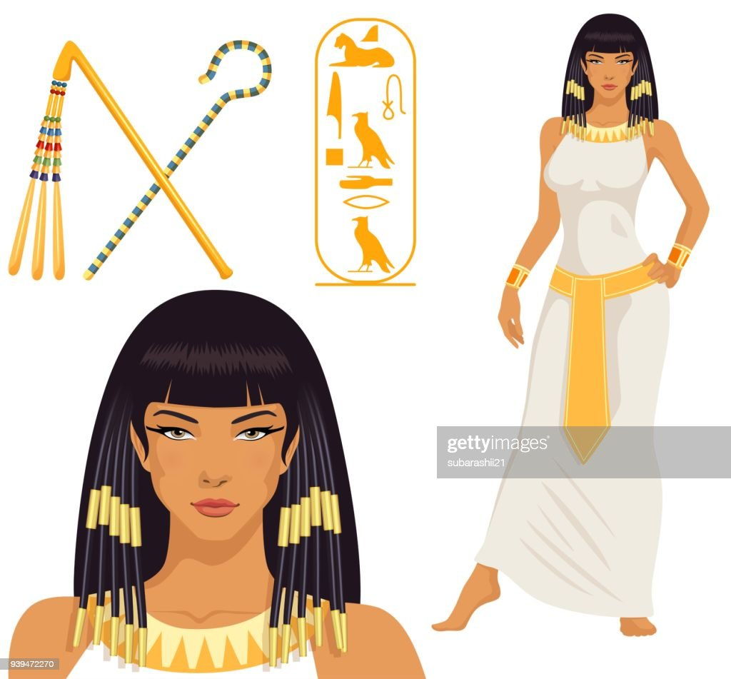 beautiful girl stylized into Cleopatra, her name written in Egyptian hieroglyphics and pharaoh symbols