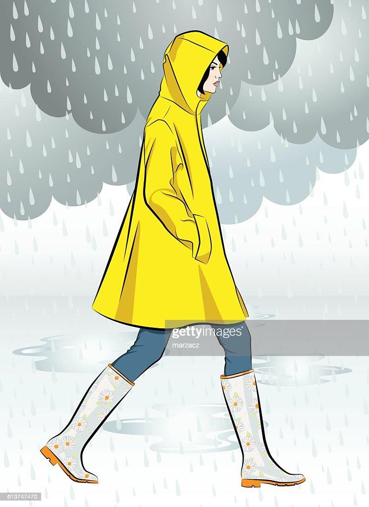 Beautiful girl wearing yellow raincoat walking in the rain