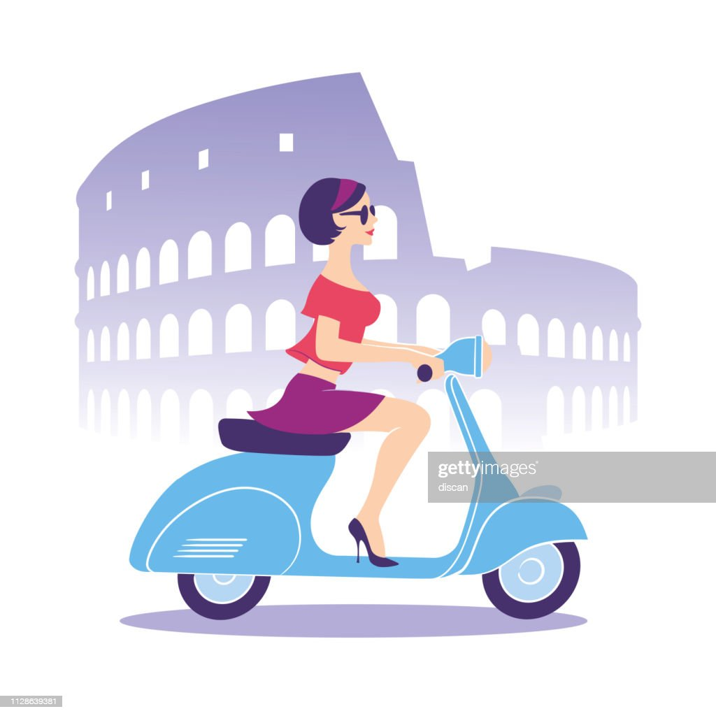 Beautiful girl with scooter : stock illustration