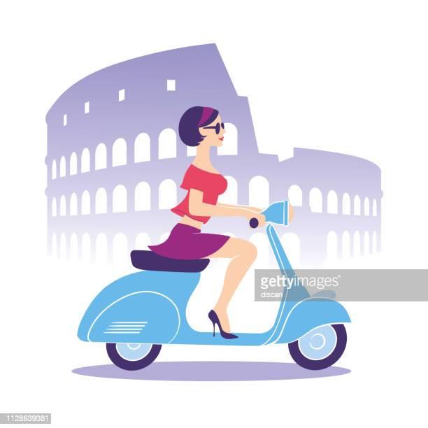 ilustrações, clipart, desenhos animados e ícones de linda garota com scooter - coliseu