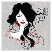 Beautiful girl with the long dark hair