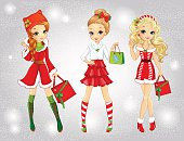 Beautiful Girls Dressed As Santa Claus Shopping