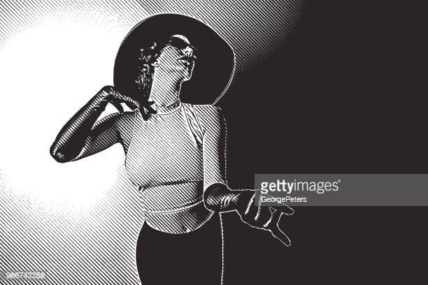 ilustrações, clipart, desenhos animados e ícones de linda mulher glamourosa vestindo moda vintage - erotica