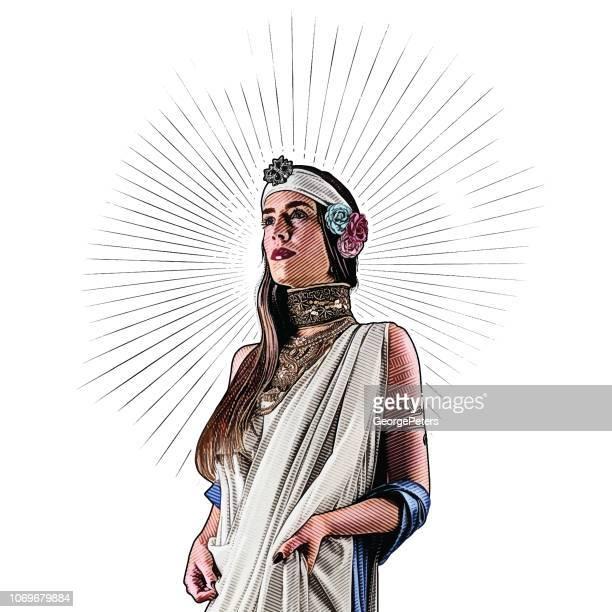 beautiful goddess - goddess stock illustrations, clip art, cartoons, & icons