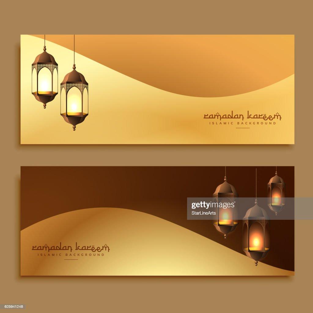 beautiful golden ramadan banners with hanging lamps