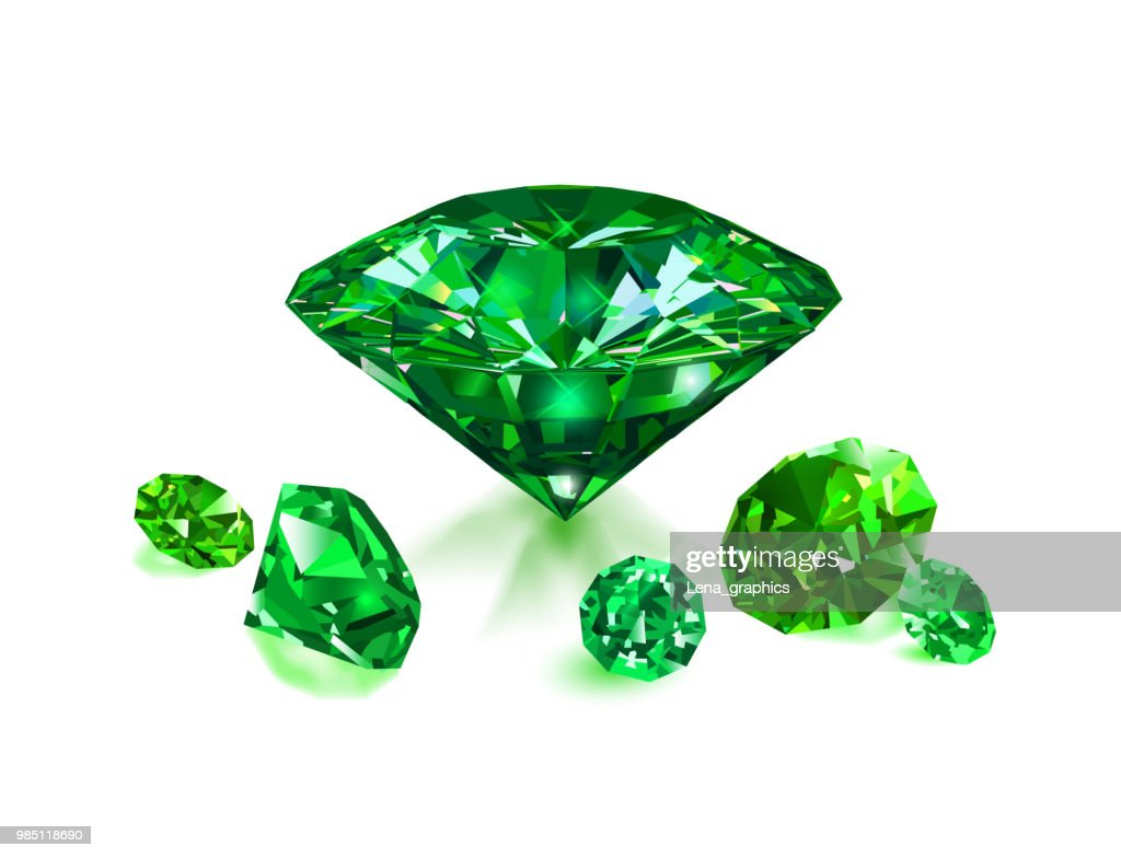 Beautiful green gems emeralds on white background. Vector illustration. : stock illustration