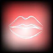Beautiful hand drawn outline of sexy pink lips