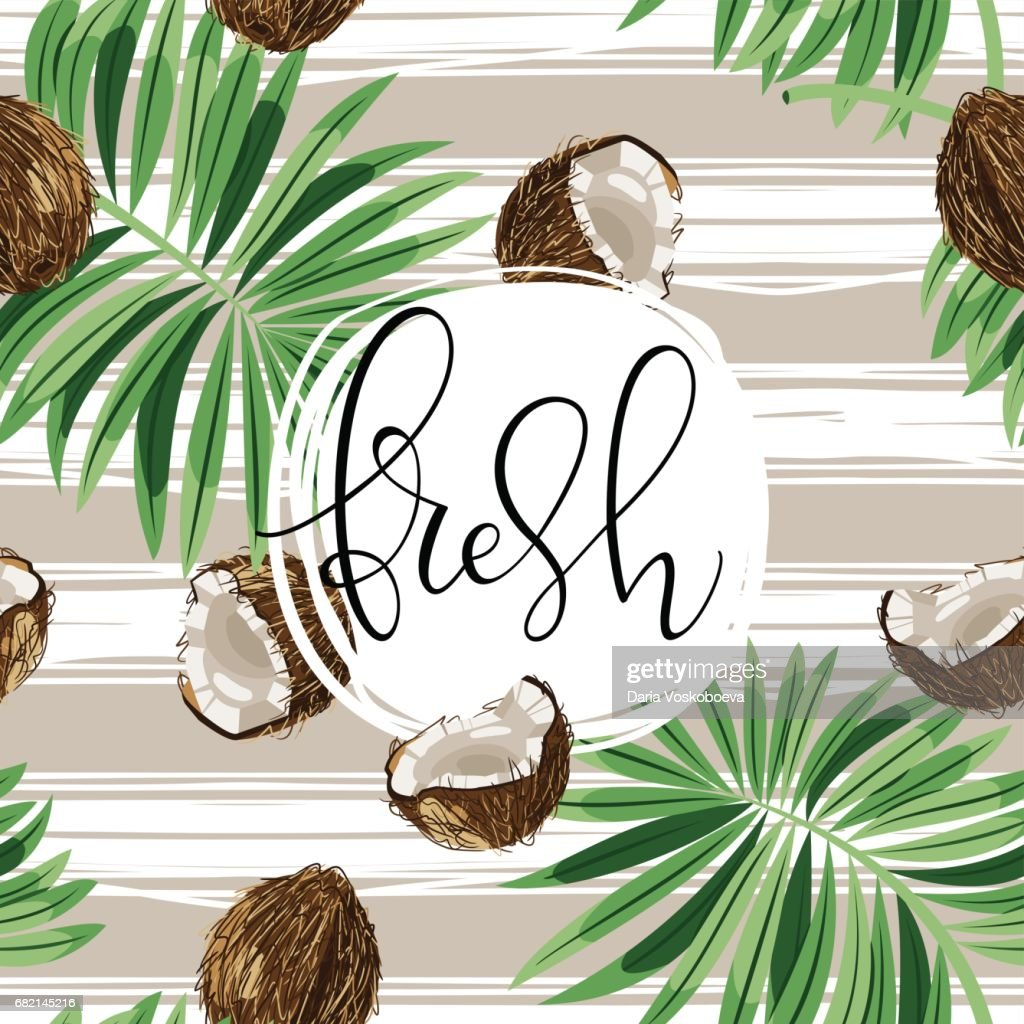 Beautiful hand drawn vector illustration with coconuts