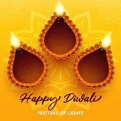 happy diwali yellow card with realistic