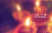 beautiful happy diwali wallpaper with blurred background and paisely decoration