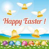 Beautiful Happy Easter greeting card with easter eggs and bells. Vector illustration IV.