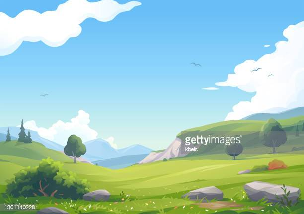 beautiful hilly landscape - valley stock illustrations