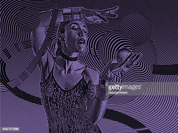 Beautiful Hispanic fortune teller with crystal ball