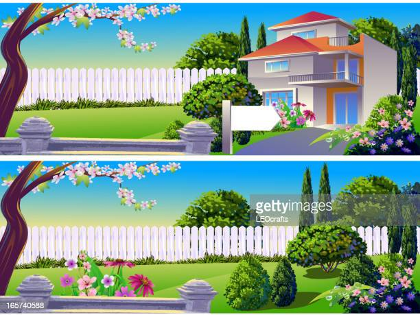 Beautiful House and Spring Backgrounds