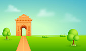 Beautiful illustration of India Gate, green background and blue cloudy sky.