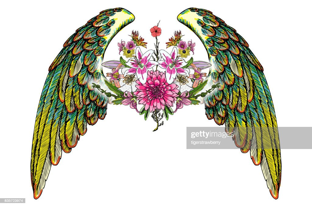 Beautiful illustration with lily, roses and chamomiles flowers and birds wings in blackwork tattoo flash style hand drawing concept. Ornate fashioned angel wings and elegant vintage floral. Vector.