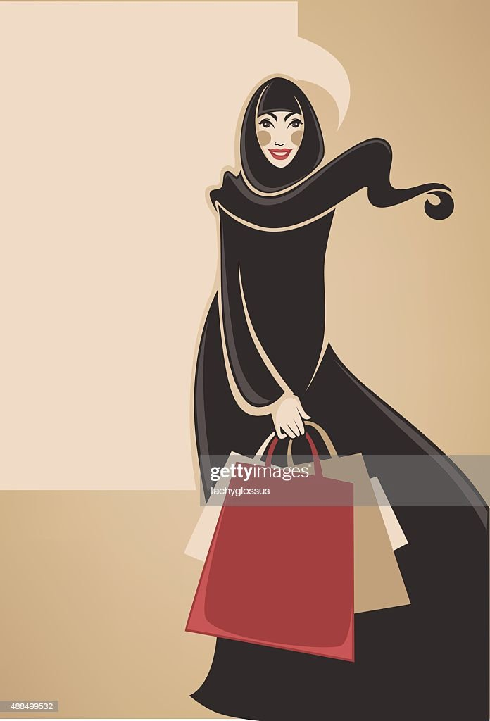 beautiful image of arabic muslim woman doing shopping, vector illustration