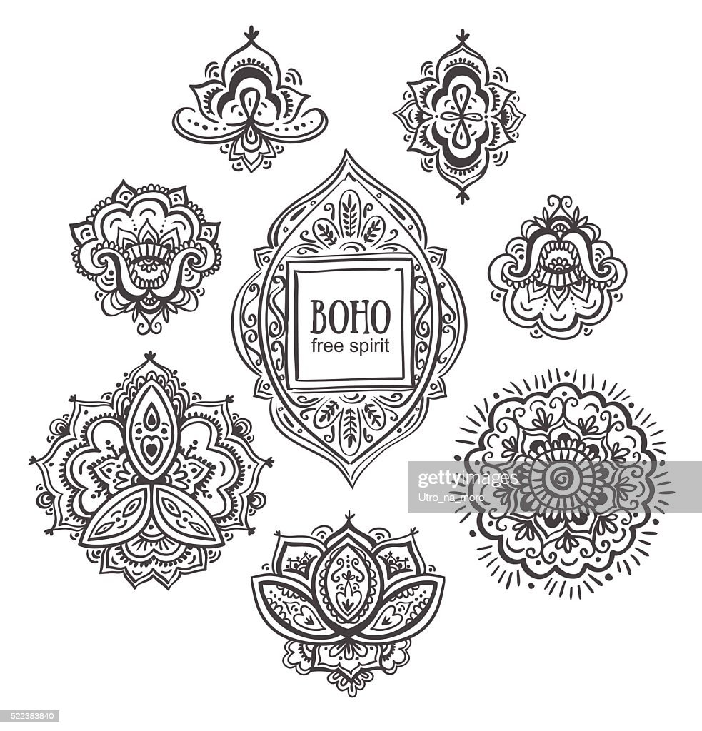 Beautiful Indian floral ornaments.  Vector illustration.