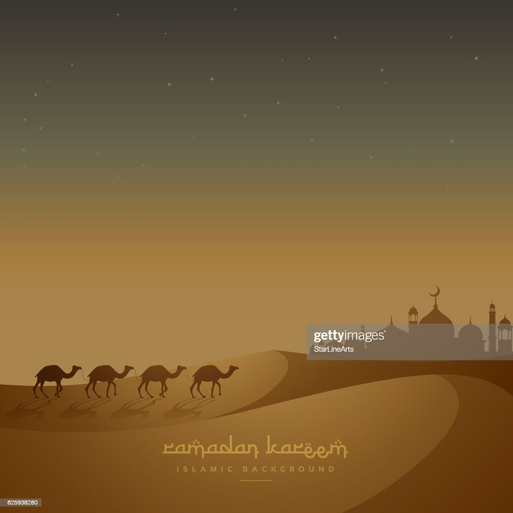 beautiful islamic background with camels walking on sand