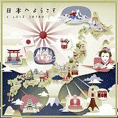 beautiful Japan travel map
