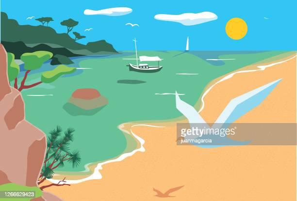 illustrations, cliparts, dessins animés et icônes de beau paysage dans la mer méditerranée - mer méditerranée