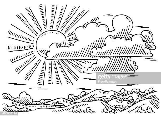 Beautiful Landscape Sun And Clouds Drawing