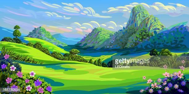 ilustraciones, imágenes clip art, dibujos animados e iconos de stock de hermoso paisaje - valle