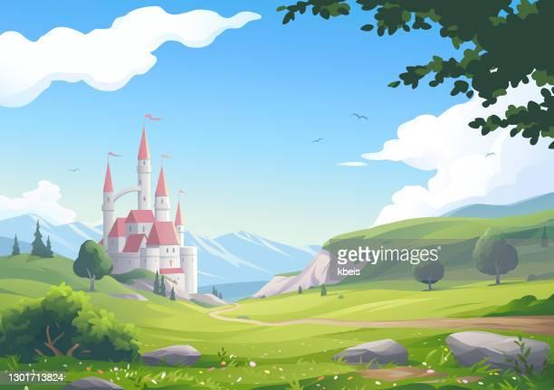 schöne landschaft mit schloss - fantasiewelt stock-grafiken, -clipart, -cartoons und -symbole