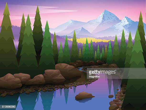 Bela paisagem com árvores e Montanhas