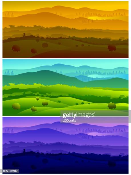 beautiful landscapes, representing time of the day - rolling landscape stock illustrations