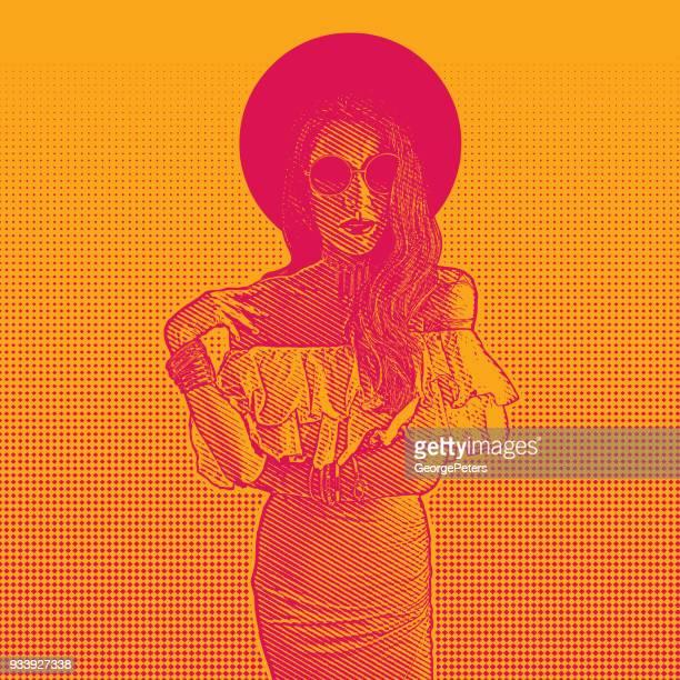 beautiful latin american woman wearing sunglasses - me too social movement stock illustrations, clip art, cartoons, & icons