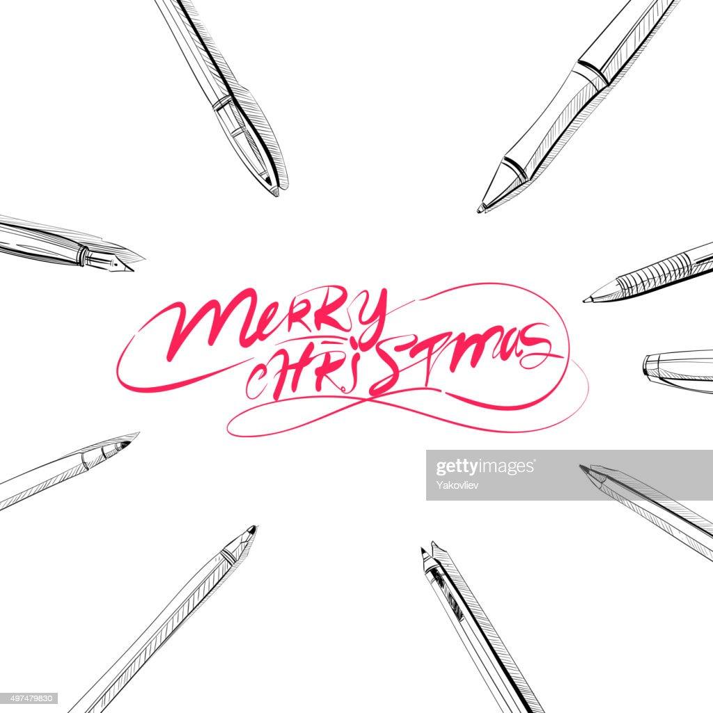 Wunderschöne Buchstaben Frohe Weihnachten Im Rahmen Des Pensvector ...