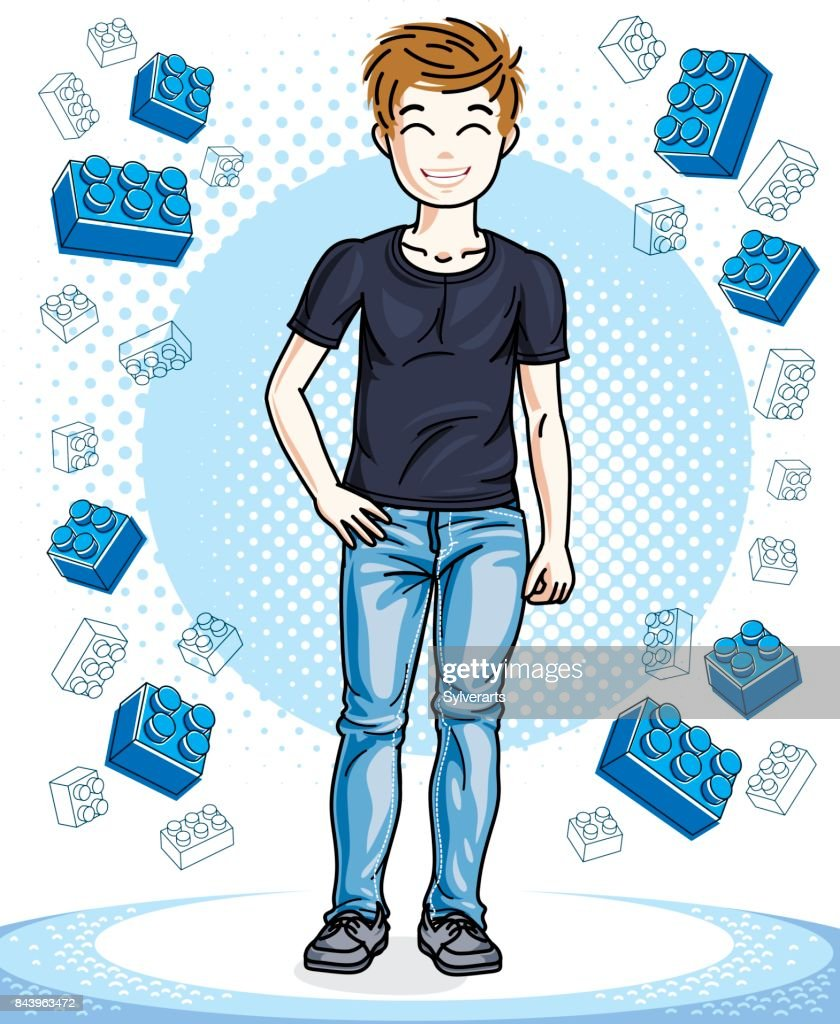 Beautiful little boy cute child standing wearing fashionable casual clothes. Vector character. Childhood lifestyle cartoon.