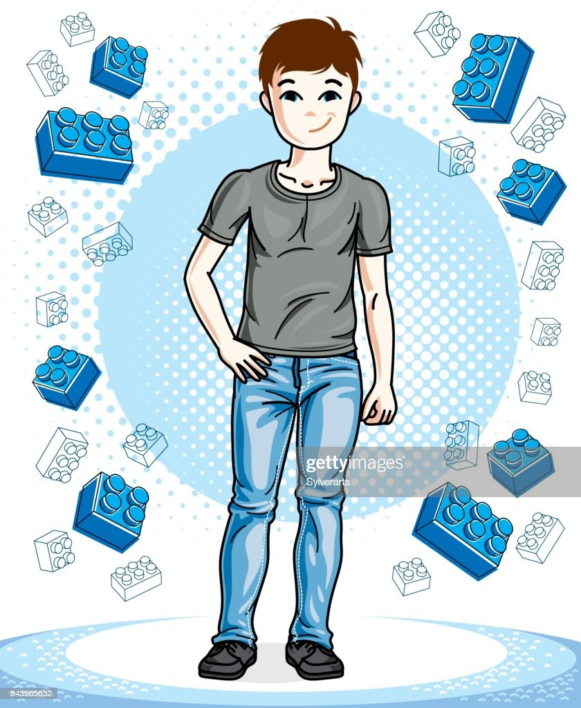 Beautiful little boy cute child standing wearing fashionable casual clothes. Vector pretty nice human illustration. Childhood lifestyle clip art.