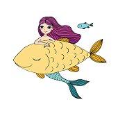 Beautiful little mermaid and big fish. Siren. Sea theme.