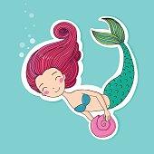 Beautiful little mermaid. Siren.