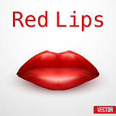 Beautiful luscious red lips. Vector Illustration.