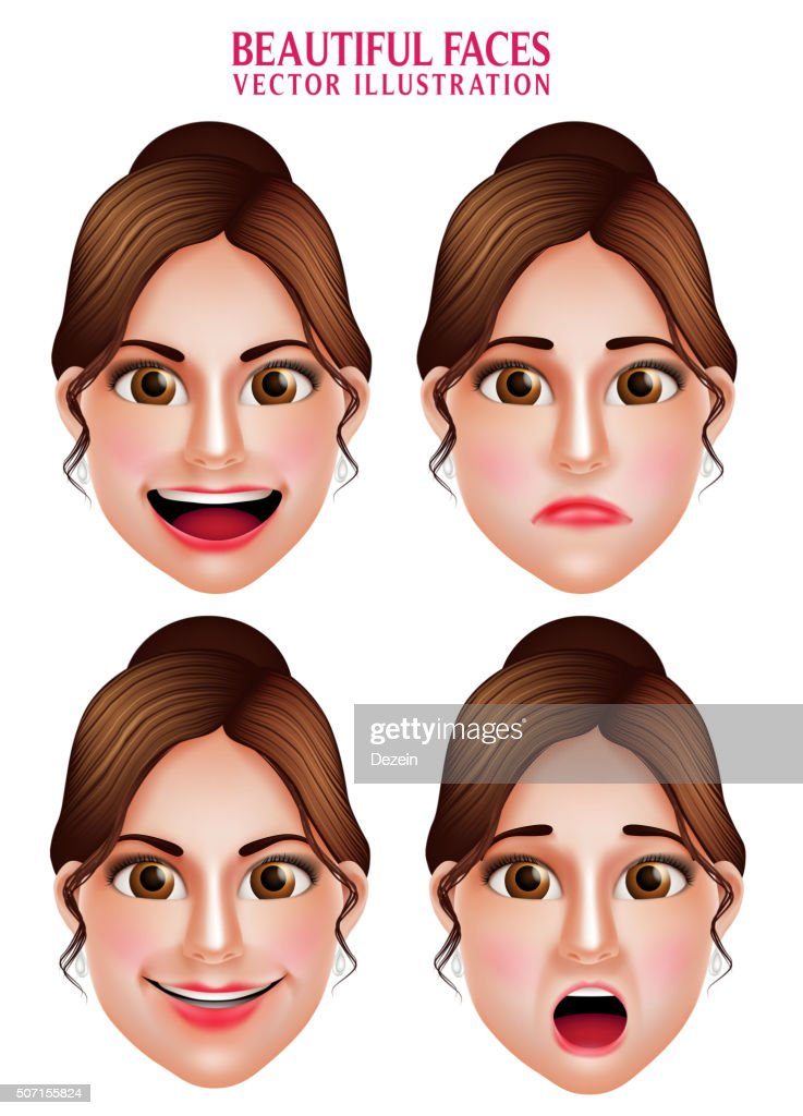 Beautiful Makeup Faces of Woman  Vector Character with Facial Expressions