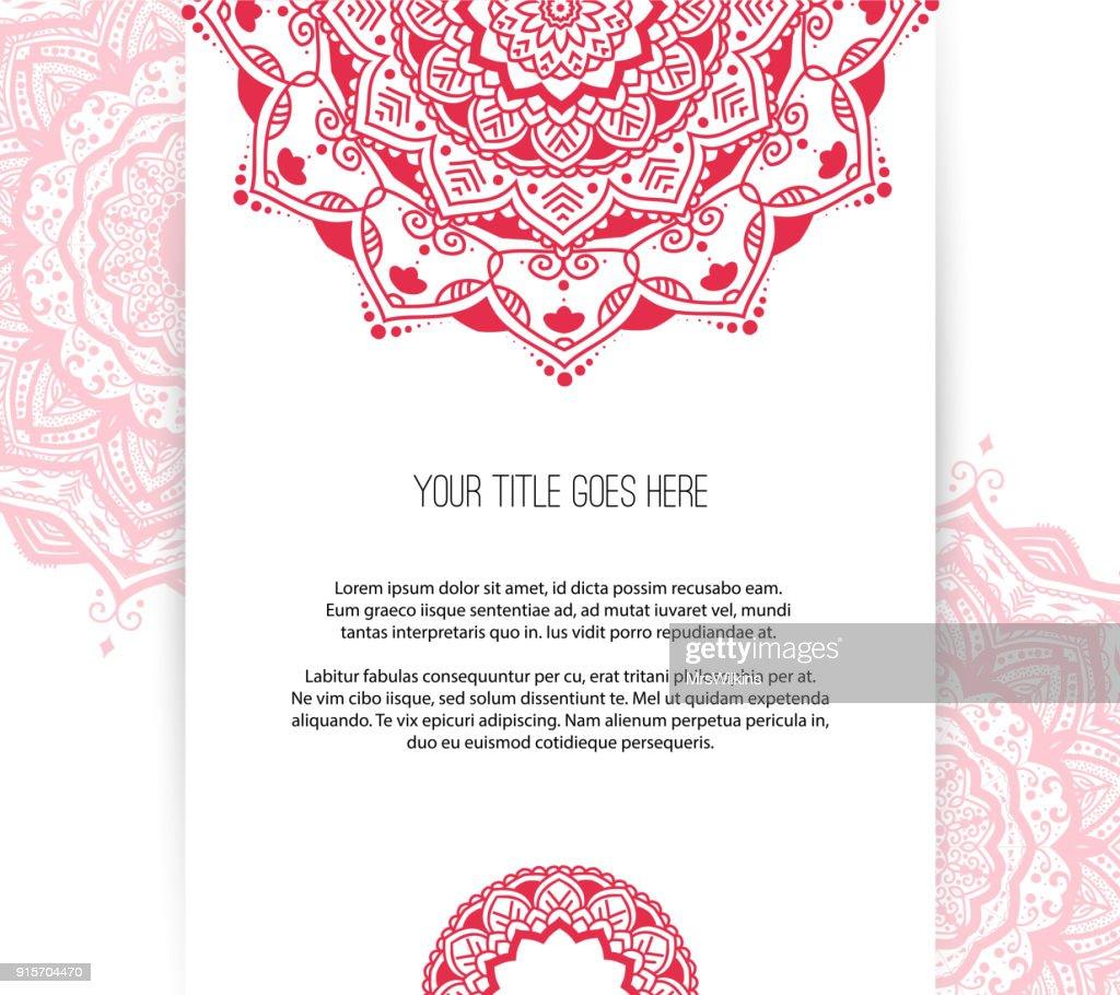 Beautiful Mandala leaflet template vector