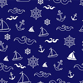 Beautiful marine seamless vector pattern