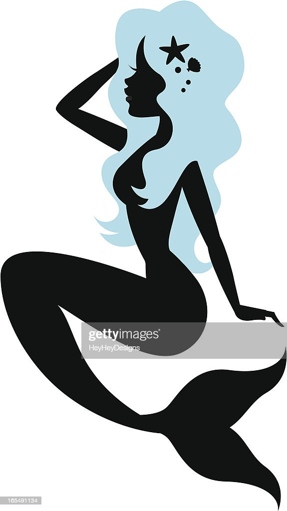 beautiful mermaid silhouette vector art