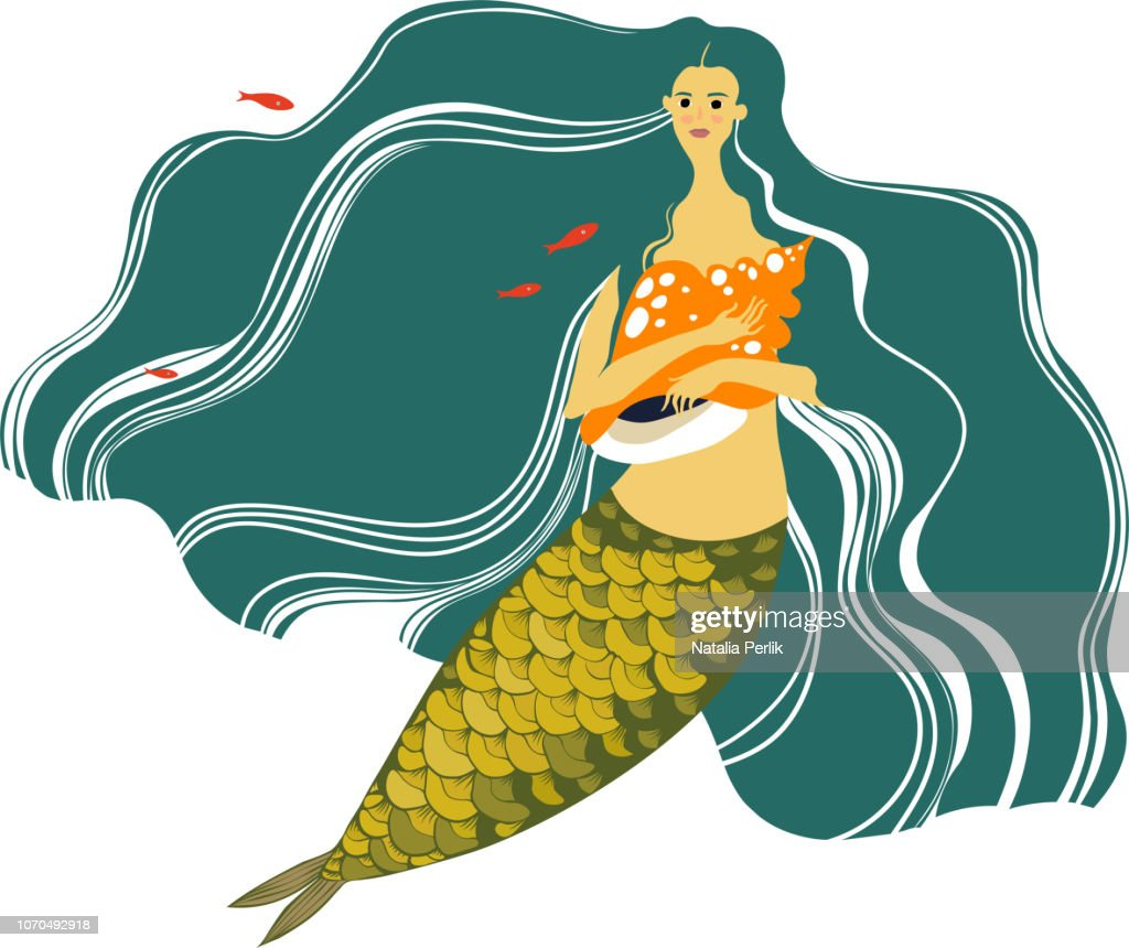 beautiful mermaid with long hair