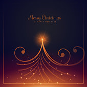 beautiful merry christmas greeting design with creative christma