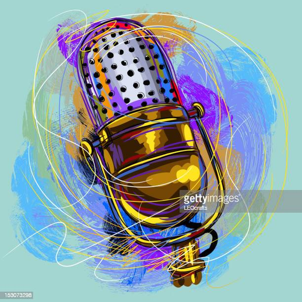 beautiful microphone - microphone stock illustrations